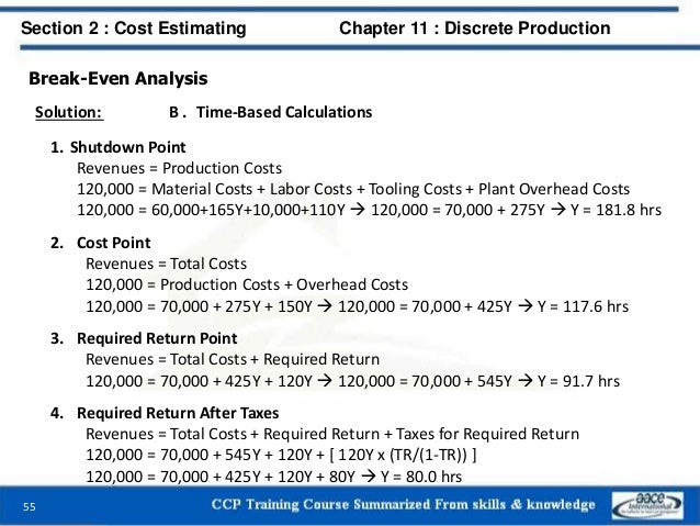 Break-Even Analysis Solution: B . Time-Based Calculations 1. Shutdown Point Revenues = Production Costs 120,000 = Material...