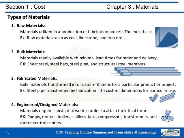 Section 1 : Cost Chapter 3 : Materials Types of Materials 1. Raw Materials: Materials utilized in a production or fabricat...