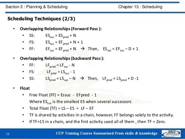Scheduling Techniques (2/3) • Overlapping Relationships (Forward Pass ): • SS: ESsuc = ESpred + N • FS: ESsuc = EFpred + N...