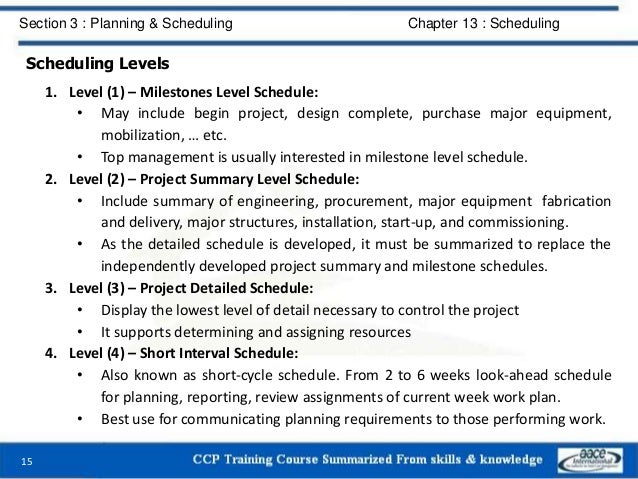 Scheduling Levels 1. Level (1) – Milestones Level Schedule: • May include begin project, design complete, purchase major e...