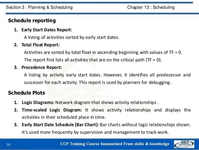 Schedule reporting 1. Early Start Dates Report: A listing of activities sorted by early start dates. 2. Total Float Report...