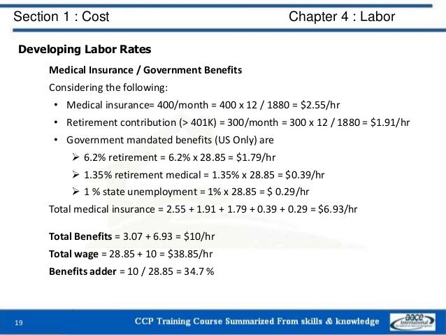 Section 1 : Cost Chapter 4 : Labor Developing Labor Rates Medical Insurance / Government Benefits Considering the followin...