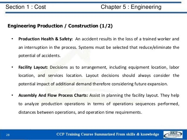 Section 1 : Cost Chapter 5 : Engineering Engineering Production / Construction (1/2) • Production Health & Safety: An acci...