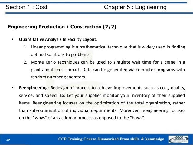 Section 1 : Cost Chapter 5 : Engineering Engineering Production / Construction (2/2) • Quantitative Analysis In Facility L...
