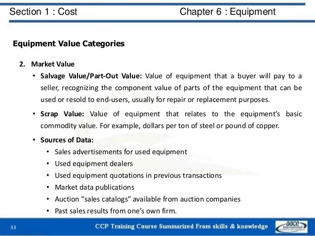 Section 1 : Cost Chapter 6 : Equipment Equipment Value Categories 2. Market Value • Salvage Value/Part-Out Value: Value of...