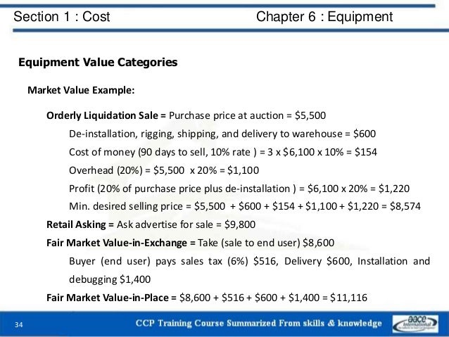 Section 1 : Cost Chapter 6 : Equipment Equipment Value Categories Market Value Example: Orderly Liquidation Sale = Purchas...