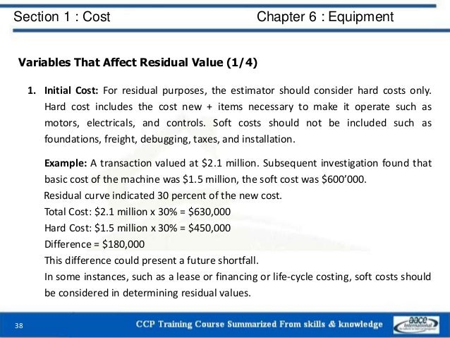 Section 1 : Cost Chapter 6 : Equipment Variables That Affect Residual Value (1/4) 1. Initial Cost: For residual purposes, ...