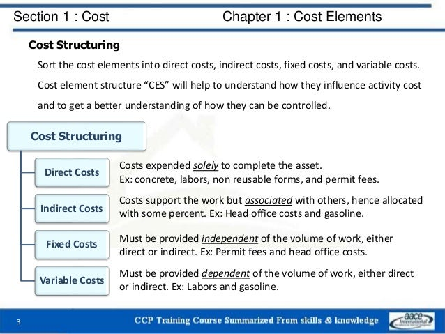 Section 1 : Cost Chapter 1 : Cost Elements Cost Structuring Sort the cost elements into direct costs, indirect costs, fixe...