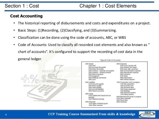 Section 1 : Cost Chapter 1 : Cost Elements Cost Accounting • The historical reporting of disbursements and costs and expen...