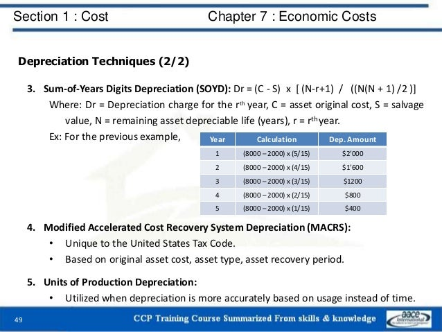 Section 1 : Cost Chapter 7 : Economic Costs 49 Depreciation Techniques (2/2) 3. Sum-of-Years Digits Depreciation (SOYD): D...
