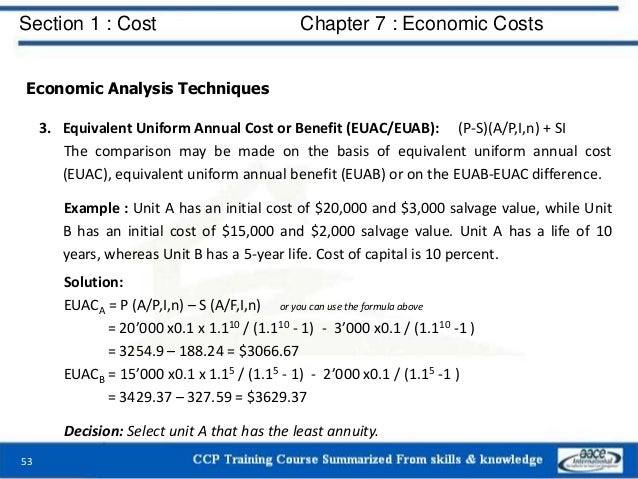 Section 1 : Cost Chapter 7 : Economic Costs 53 Economic Analysis Techniques 3. Equivalent Uniform Annual Cost or Benefit (...