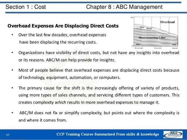 Section 1 : Cost Chapter 8 : ABC Management 57 Overhead Expenses Are Displacing Direct Costs • Over the last few decades, ...