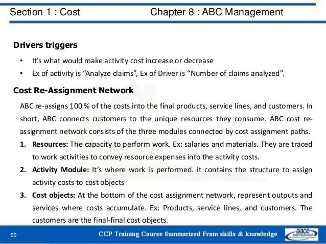 Section 1 : Cost Chapter 8 : ABC Management 59 Drivers triggers • It's what would make activity cost increase or decrease ...