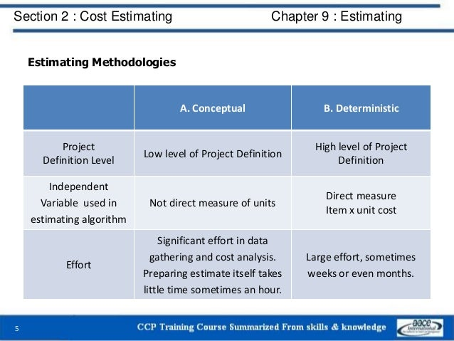 Estimating Methodologies 5 A. Conceptual B. Deterministic Project Definition Level Low level of Project Definition High le...