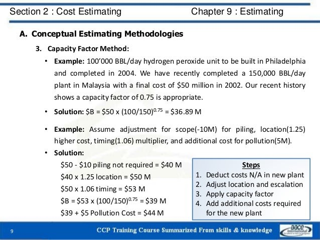 A. Conceptual Estimating Methodologies 3. Capacity Factor Method: • Example: 100'000 BBL/day hydrogen peroxide unit to be ...