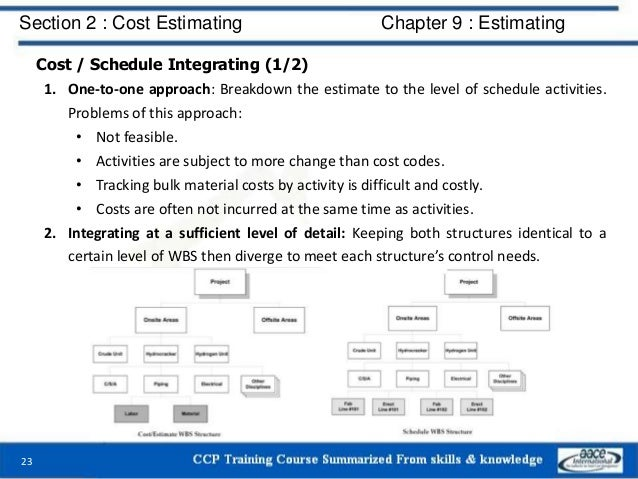 Cost / Schedule Integrating (1/2) 1. One-to-one approach: Breakdown the estimate to the level of schedule activities. Prob...