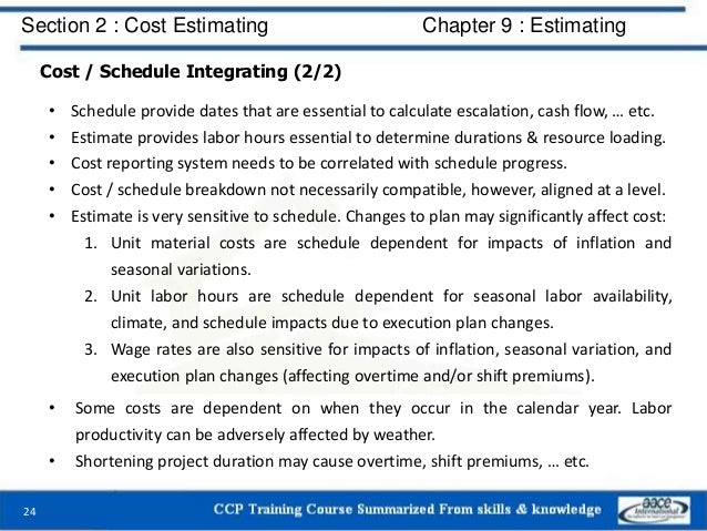 Cost / Schedule Integrating (2/2) • Schedule provide dates that are essential to calculate escalation, cash flow, … etc. •...