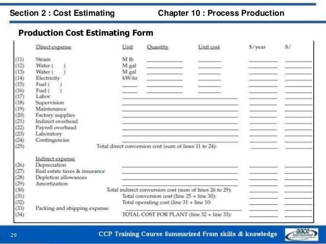 Production Cost Estimating Form Section 2 : Cost Estimating Chapter 10 : Process Production 29