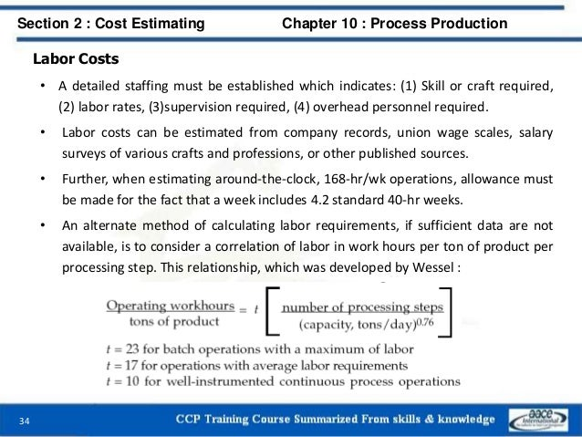 Labor Costs • A detailed staffing must be established which indicates: (1) Skill or craft required, (2) labor rates, (3)su...