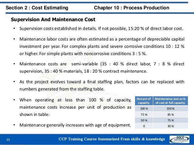 Supervision And Maintenance Cost • Supervision costs established in details. If not possible, 15:20 % of direct labor cost...