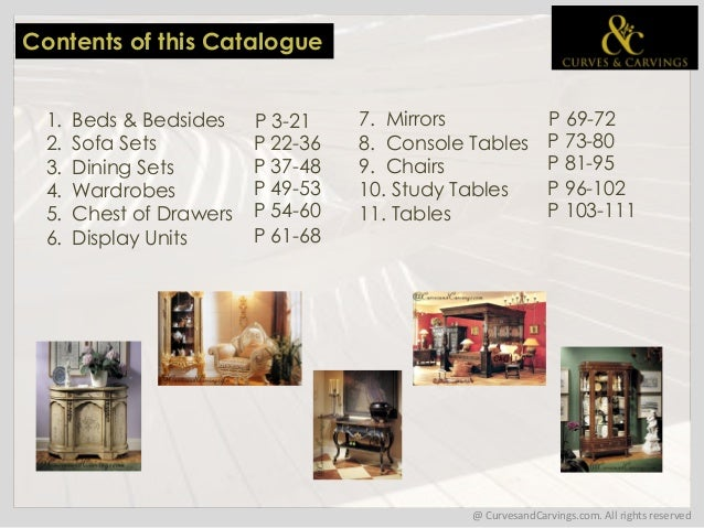 Buy Designer Luxury Furniture Online India Catalogue. 1. Product Catalogue  2015; 2.