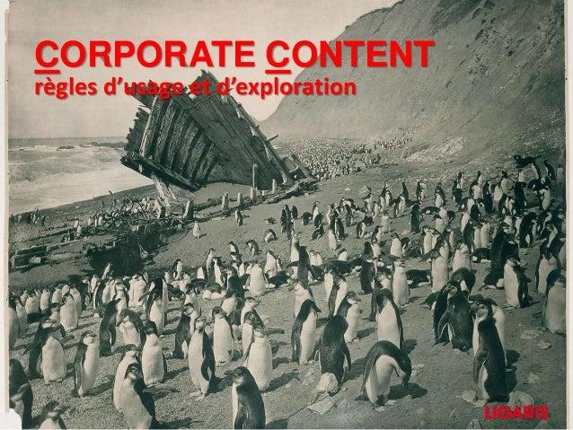 CORPORATE CONTENT règles d'usage et d'exploration