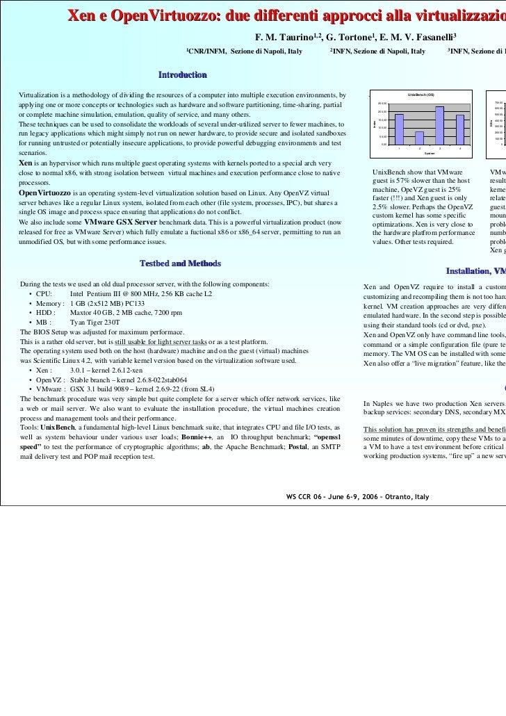 Xen e OpenVirtuozzo: due differenti approcci alla virtualizzazione di server e servizi                                    ...