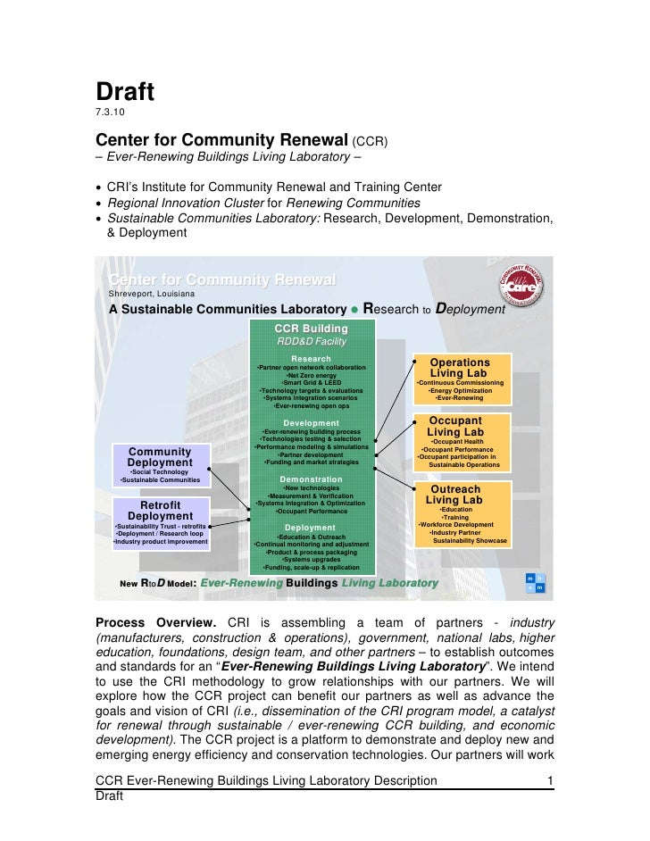 Draft 7.3.10  Center for Community Renewal (CCR) – Ever-Renewing Buildings Living Laboratory –   CRI's Institute for Comm...