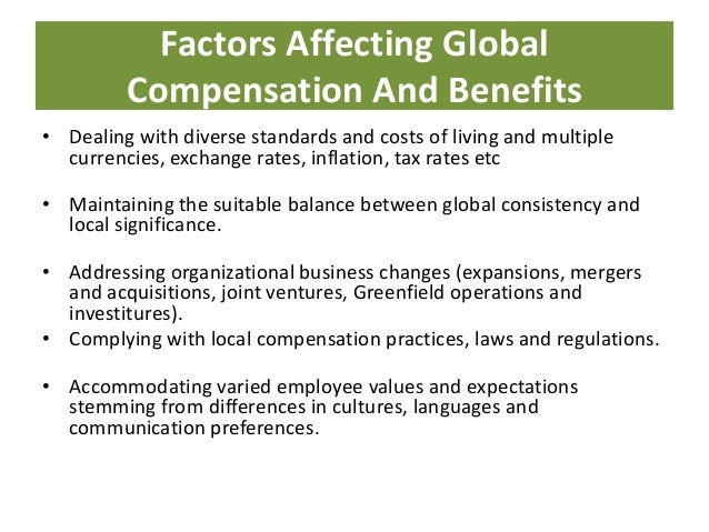 "international compensation The international compensation package is designed to keep the expatriates ""whole"" for a few years until they can be reintegrated into the home-country compensation program thus, the ""temporary"" compensation package for the international assignment must be structured to make it easy for the repatriated employee to reenter the domestic ."