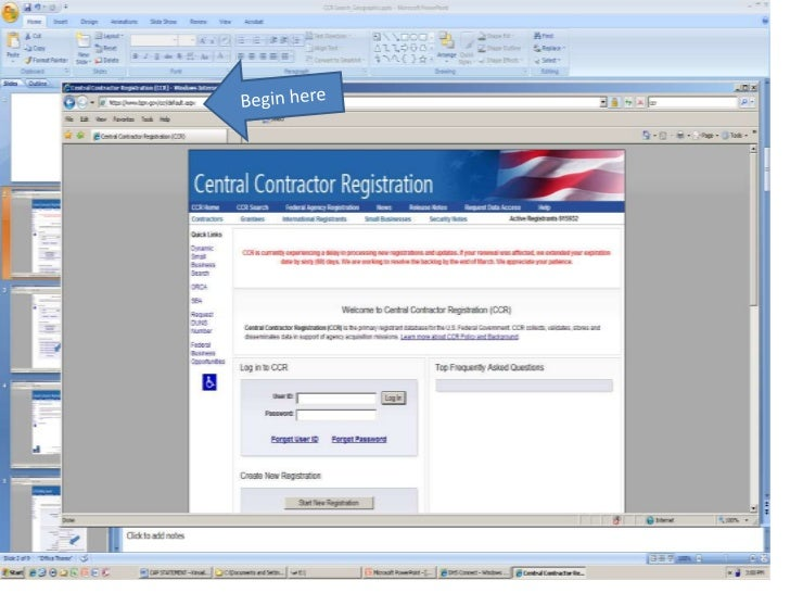 central contractor registration steps from fema