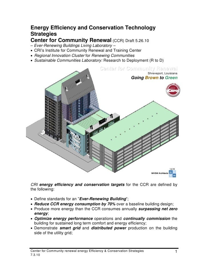 Energy Efficiency and Conservation Technology Strategies Center for Community Renewal (CCR) Draft 5.26.10 – Ever-Renewing ...