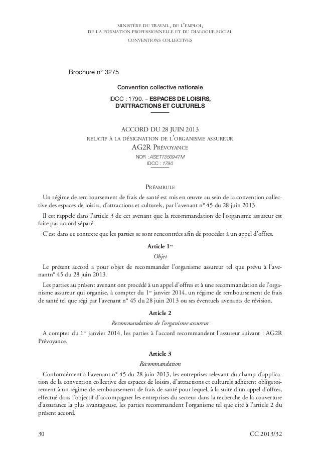 30 CC 2013/32 Brochure n° 3275 Convention collective nationale IDCC : 1790. – ESPACES DE LOISIRS, D'ATTRACTIONS ET CULTURE...