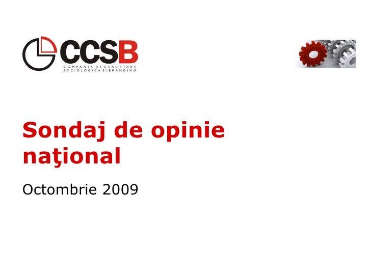 Sondaj de opinie  naţional Octombrie 2009