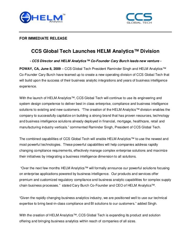 FOR IMMEDIATE RELEASE        CCS Global Tech Launches HELM Analytics™ Division       - CCS Director and HELM Analytics™ Co...