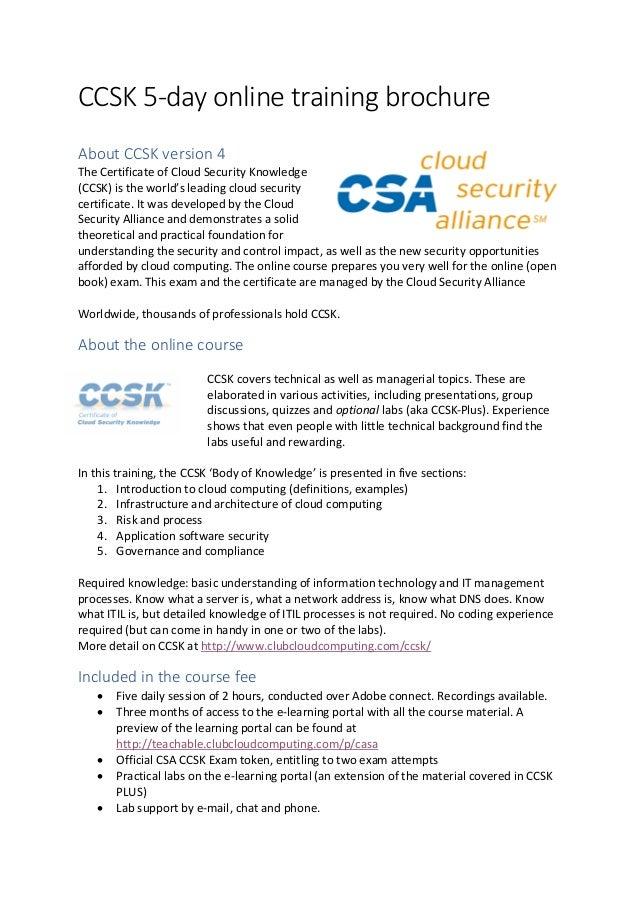 Ccsk Brochure Online 5 Day Q1 2018