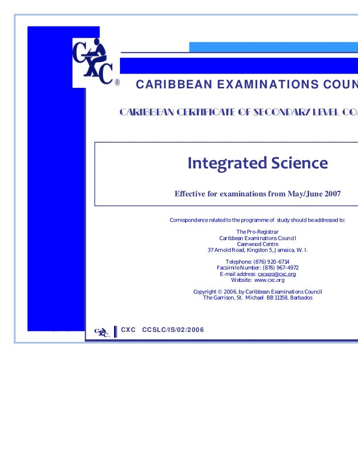 CARIBBEAN EXAMINATIONS COUNCIL             CARIBBEAN CERTIFICATE OF SECONDARY LEVEL COMPETENCE                            ...
