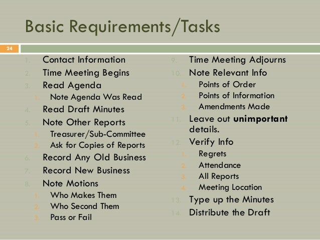 Basic Requirements/Tasks24     1.        Contact Information          9.        Time Meeting Adjourns     2.        Time M...