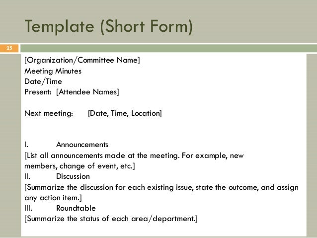 All About Meeting Minutes – Free Sample Minutes of Meeting Template