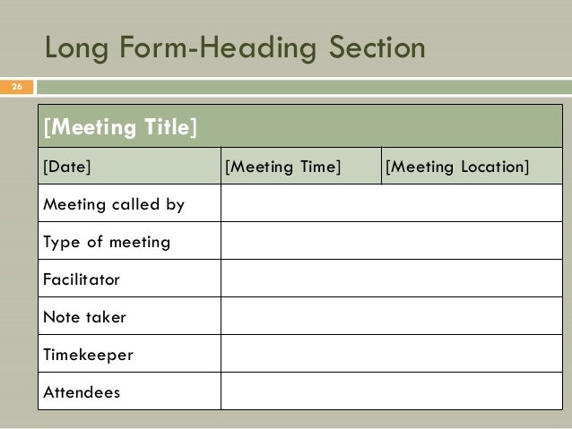 minute meeting form