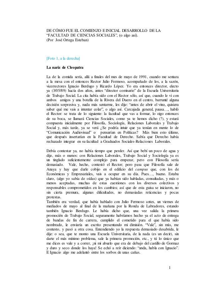 """1 DE CÓMO FUE EL COMIENZO E INICIAL DESARROLLO DE LA """"FACULTAD DE CIENCIAS SOCIALES"""", (o algo así). (Por José Ortega Esteb..."""