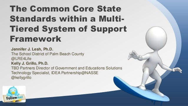The Common Core State Standards within a MultiTiered System of Support Framework Jennifer J. Lesh, Ph.D. The School Distri...