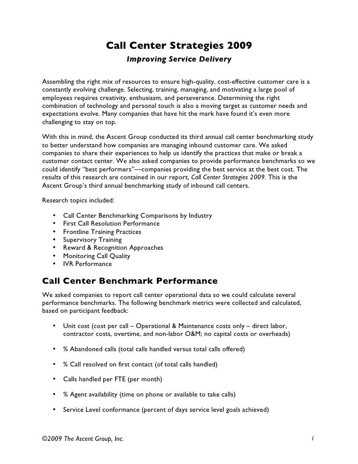 Inbound Call Center Strategies  Benchmarking Results