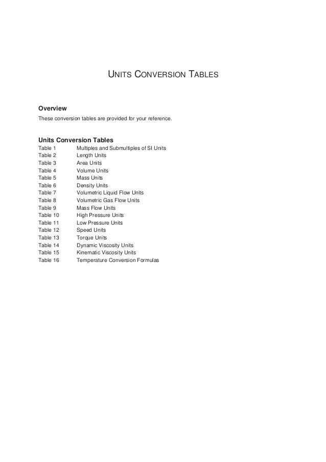 UNITS CONVERSION TABLES Overview These conversion tables are provided for your reference.