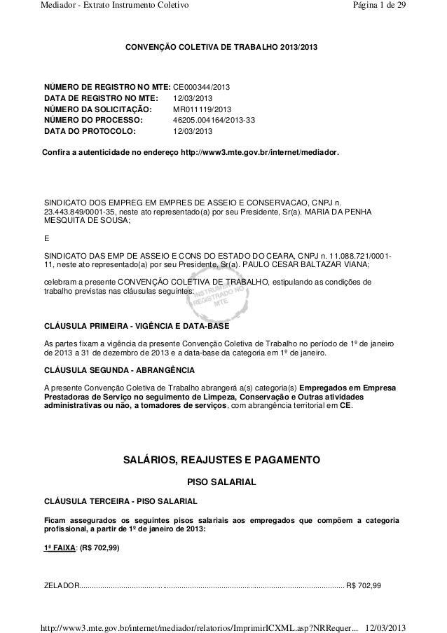 Mediador - Extrato Instrumento Coletivo Página 1 de 29  CONVENÇÃO COLETIVA DE TRABALHO 2013/2013  NÚMERO DE REGISTRO NO MT...