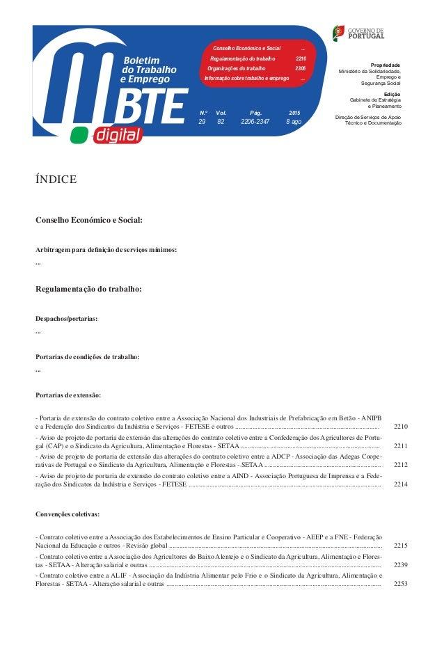 Boletim do Trabalho e Emprego, n.º 29, 8/8/2015 ÍNDICE Conselho Económico e Social: Arbitragem para definição de serviços ...