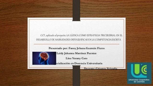 CCT, aplicado al proyecto; LA LÚDICA COMO ESTRATEGIA TRICEREBRAL EN EL DESARROLLO DE HABILIDADES ORTOGRÁFICAS EN LA COMPET...