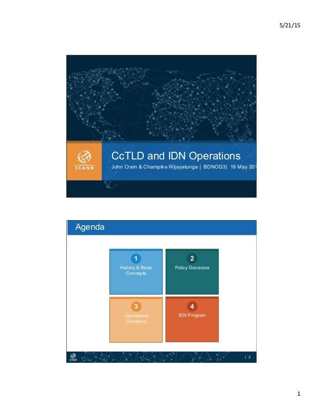5/21/15   1   CcTLD and IDN Operations John Crain & Champika Wijayatunga | BDNOG3| 19 May 2015 | 2 History & Basic Con...