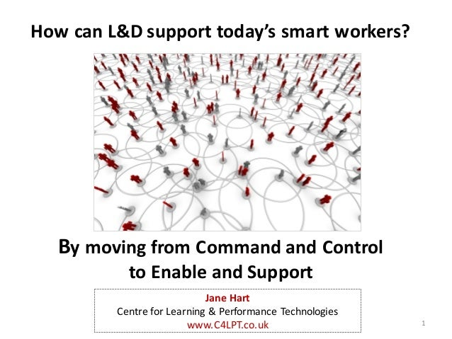 How	can	L&D	support	today's	smart	workers? By	moving	from	Command	and	Control	 to	Enable	and	Support 1 Jane	Hart Centre	fo...