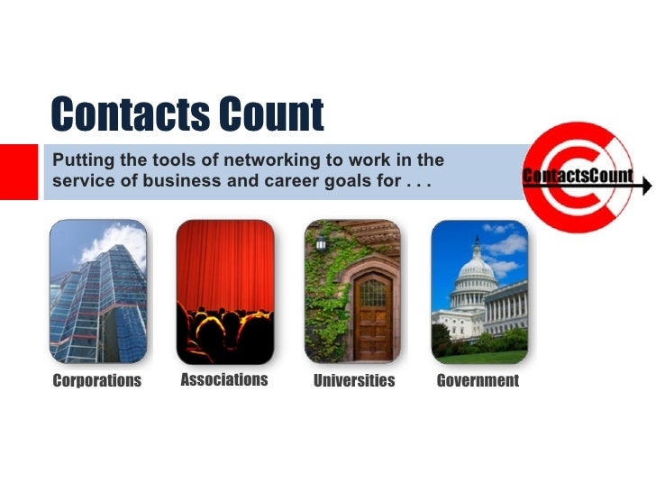 Contacts Count Putting the tools of networking to work in the service of business and career goals for . . .  Corporations...