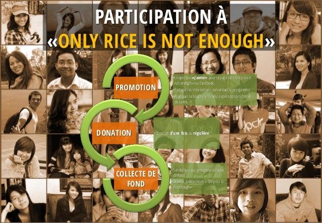 PARTICIPATION À«ONLY RICE IS NOT ENOUGH»                              •Cliquer sur «j'aime» pour le page de « Only rice is...